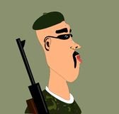 Soldier with rifle. And beret and sunglasses royalty free illustration