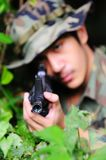 Soldier and rifle Stock Photography
