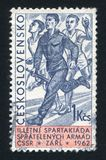 Soldier with rifle. CZECHOSLOVAKIA - CIRCA 1962: stamp printed by Czechoslovakia, shows Soldier with rifle in relay race, circa 1962 Stock Photos