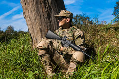 Soldier with a rifle Royalty Free Stock Image