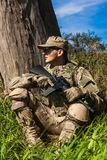 Soldier with a rifle Stock Photo