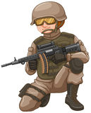 Soldier with rifle gun. Illustration Royalty Free Stock Images