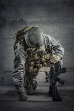 Soldier. With rifle and helmet Royalty Free Stock Images