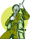 Soldier with rifle lookng up. Illustration of a world war two british Soldier with rifle viewed from low angle Stock Photography