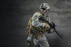 Soldier. With rifle and mask Royalty Free Stock Photography