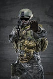 Soldier with rifle and mask Royalty Free Stock Images