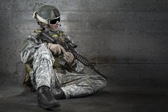 Soldier with rifle and mask Royalty Free Stock Photography