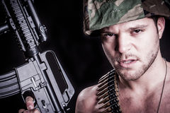 Soldier with Rifle. Military marine soldier with rifle royalty free stock image