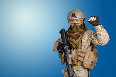 Soldier with rifle. Modern soldier with rifle, ammunition Stock Image
