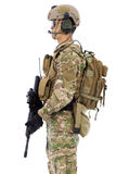 Soldier with rifle or sniper  ,isolated on white background Royalty Free Stock Images