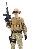 Soldier with rifle or sniper  over  white background Royalty Free Stock Image