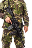 Soldier with rifle. On  white background Royalty Free Stock Images