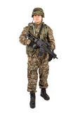 Soldier with rifle on a white background Royalty Free Stock Photography