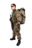 Soldier with rifle on a white background Royalty Free Stock Photo