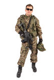 Soldier with rifle on a white background Royalty Free Stock Images