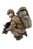Soldier with rifle on a white background Royalty Free Stock Photos