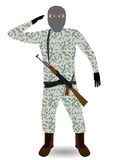 Soldier with rifle. Young soldier with mask and rifle. Vector illustration EPS-10 Stock Images