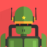 Soldier Robot Character. Portrait Icon In Weird Graphic Flat Vector Style On Bright Color Background Stock Photos