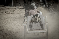 Soldier, Roman chariot in a fight of gladiators, bloody circus Royalty Free Stock Photos