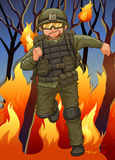 Soldier running away from wildfire Royalty Free Stock Photos
