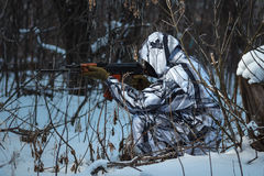 Soldier with the russian machine gun in snow Royalty Free Stock Photo