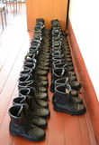 Soldier's boots in the barracks of internal troops. Royalty Free Stock Photo