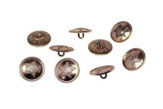 Soldier's buttons. Metal soldier's buttons it is isolated on white background Royalty Free Stock Images