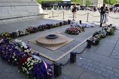 Soldier`s grave in Arc de Triomphe in Paris Arch of Triumph. Low angle view at France Royalty Free Stock Photos