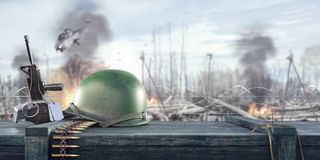 Soldier`s helmet and army equipment on weapons ammo crate, war background. 3D Rendering royalty free illustration