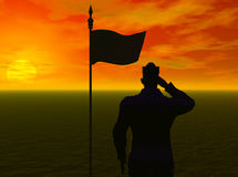Soldier's Salute. The setting sun silhouttes a soldier as he salutes his country's flag.  Computer Generated Imgae, 3D models Stock Image