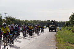 Soldier's Truck stand by for Bicycle Competition security Stock Photos