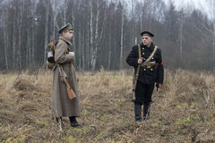 Soldier and sailor. The participants of the international military-historical festival Royalty Free Stock Photo