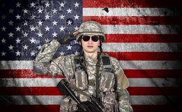 Soldier salutes Royalty Free Stock Photography