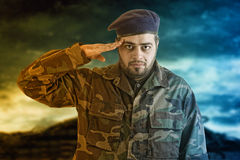 Soldier Salutes ready to serve and sacrifice for his country Royalty Free Stock Photos