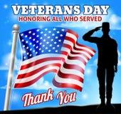 Soldier Saluting American Flag Veterans Day Design