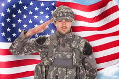 Soldier Saluting royalty free stock photos
