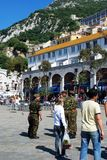 Soldier sand tourists in Casemates Square, Gibrlatar. Royalty Free Stock Photography