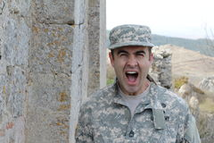 Soldier screaming in the battle field.  Stock Image