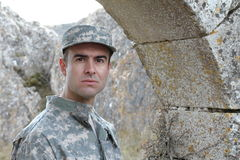 Soldier with a serious expression portrait Stock Photos