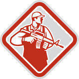 Soldier Serviceman Military Assault Rifle Shield Retro. Illustration of an soldier serviceman military holding carrying assault rifle facing side set inside Royalty Free Stock Photos