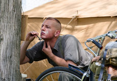 Soldier shaving Stock Image