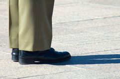 Soldier shoes. Detail photo of australian soldier's shoes, he was standing in attention Stock Images