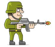 Soldier Shoots From A Machine Gun Vector Illustration