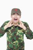 Soldier Shouting, China, Studio Shot Stock Photo