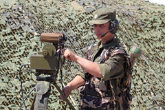 Soldier show range finder possibilities. ZHUKOVSKY, RUSSIA - JUL 1: The IV international salon of arms and military technology. Engineering technologies Royalty Free Stock Photography
