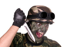 Soldier showing a knife Stock Photography