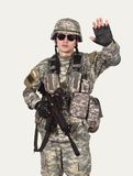 Soldier showing stop symbol Stock Photo