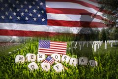 Soldier silhouette, american flag and grave stones. Great for Memorial Day. Grave stones in a row with a soldier silhouette, US National flag and memorial day Royalty Free Stock Images