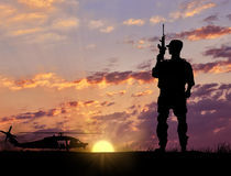 Soldier Silhouette Military helicopter Royalty Free Stock Photography