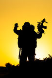 Soldier silhouette. On the orange background Royalty Free Stock Images